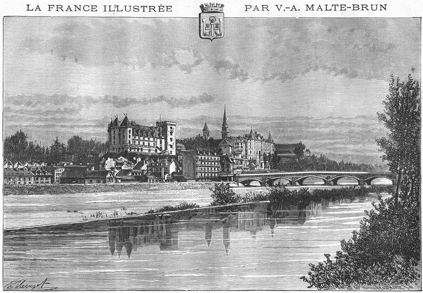 Associate Product PYRÉNÉES-ATLANTIQUES. Pau 1882 old vintage print picture