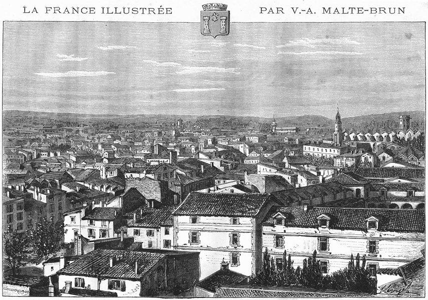 Associate Product PYRÉNÉES-ORIENTALES. Perpignan 1882 old antique vintage print picture