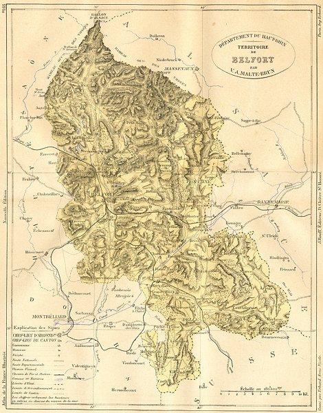 Associate Product HAUT-RHIN. Departement du-Territoire de Belfort 1883 old antique map chart