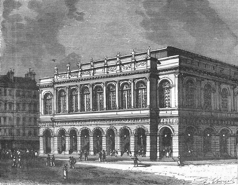 Associate Product RHÔNE. Rhone. Theatre de Lyon 1883 old antique vintage print picture