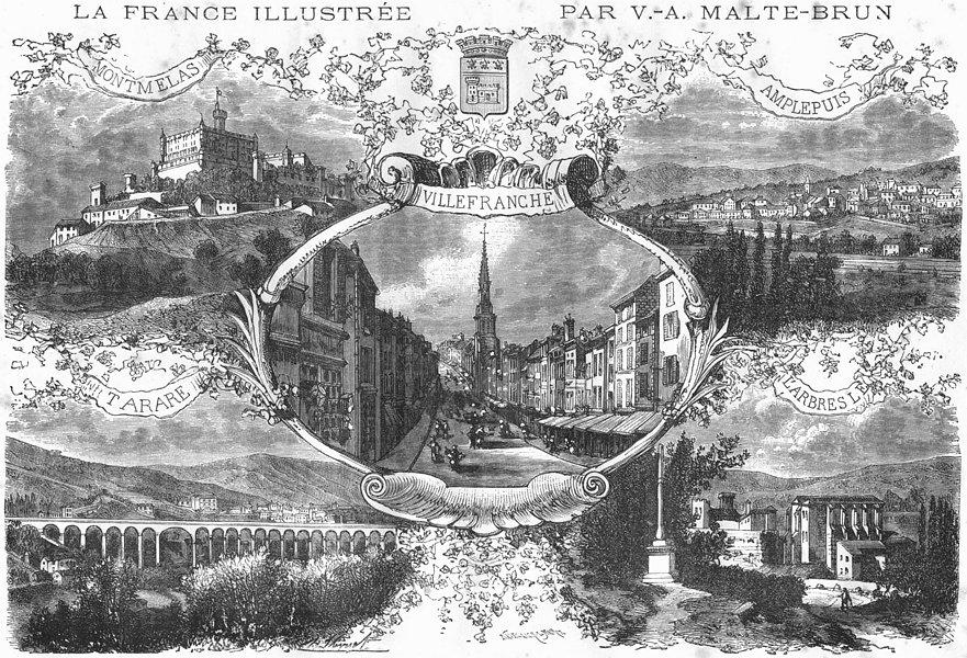 RHONE. Vues Principales Villes du Departement 1883 old antique print picture