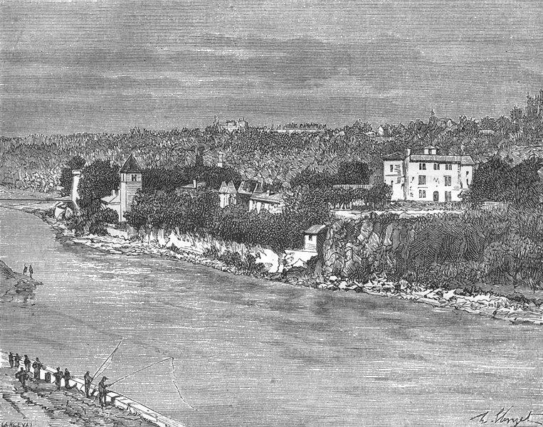 Associate Product RHÔNE. Rhone. Ile Barbe, pres de Lyon 1883 old antique vintage print picture
