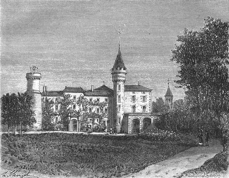 Associate Product SAONE ET LOIRE. Saone-. Chateau Lamartine, St-Point 1883 old antique print