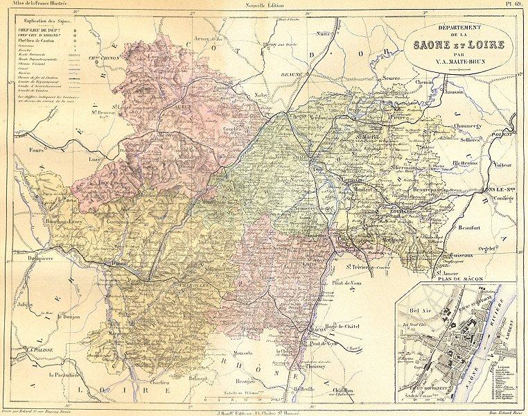 Associate Product SAÔNE-LOIRE. Departement de Saone; plan Mâcon 1883 old antique map chart