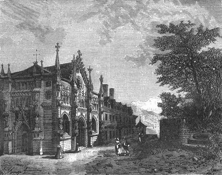 Associate Product SAVOIE. Abbaye de Hautecombe 1883 old antique vintage print picture