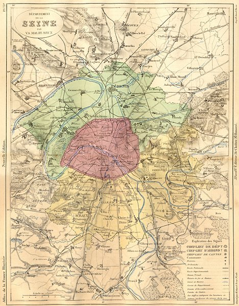 Associate Product FRANCE. Departement de Seine 1883 old antique vintage map plan chart