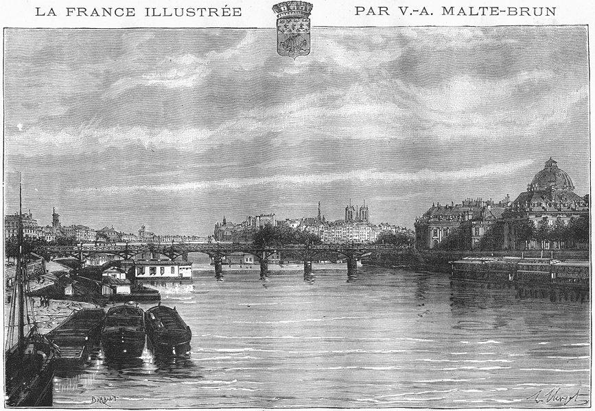 Associate Product PARIS. Quais 1883 old antique vintage print picture