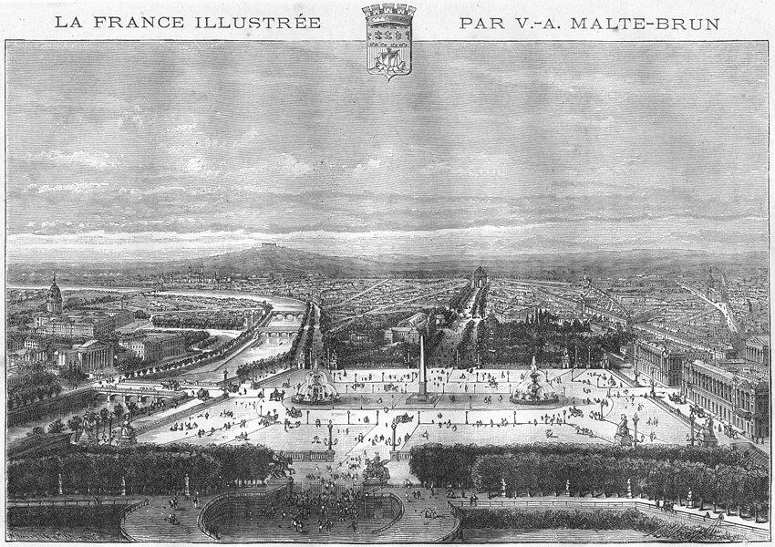 PARIS. Place de Concorde 1883 old antique vintage print picture