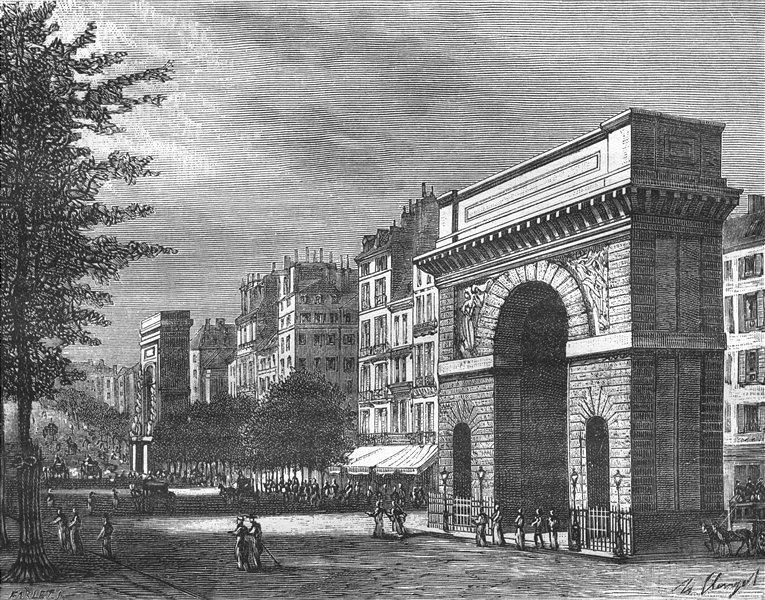 Associate Product PARIS. Seine. Porte St-Denis-Martin 1883 old antique vintage print picture