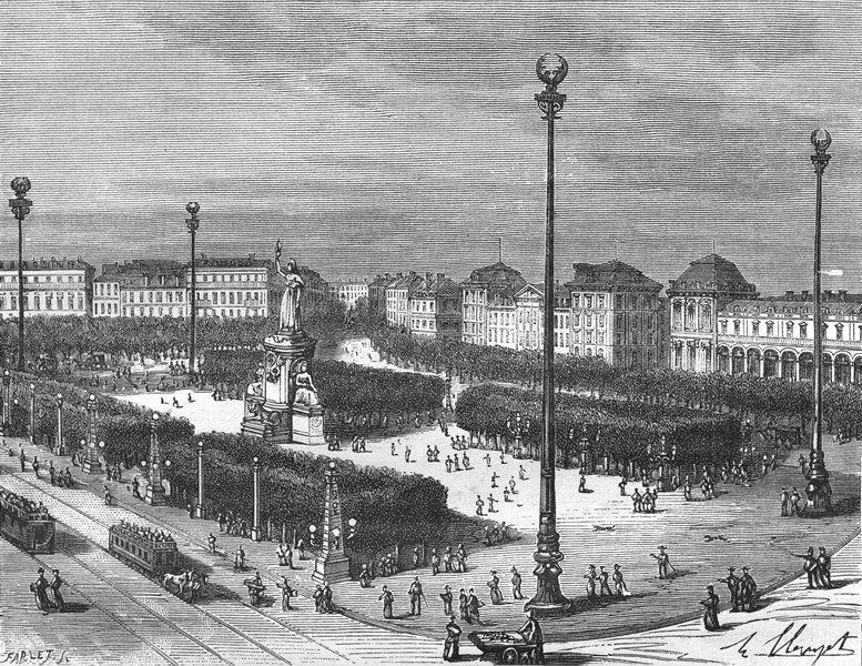 Associate Product PARIS. Seine. Place de Republique 1883 old antique vintage print picture