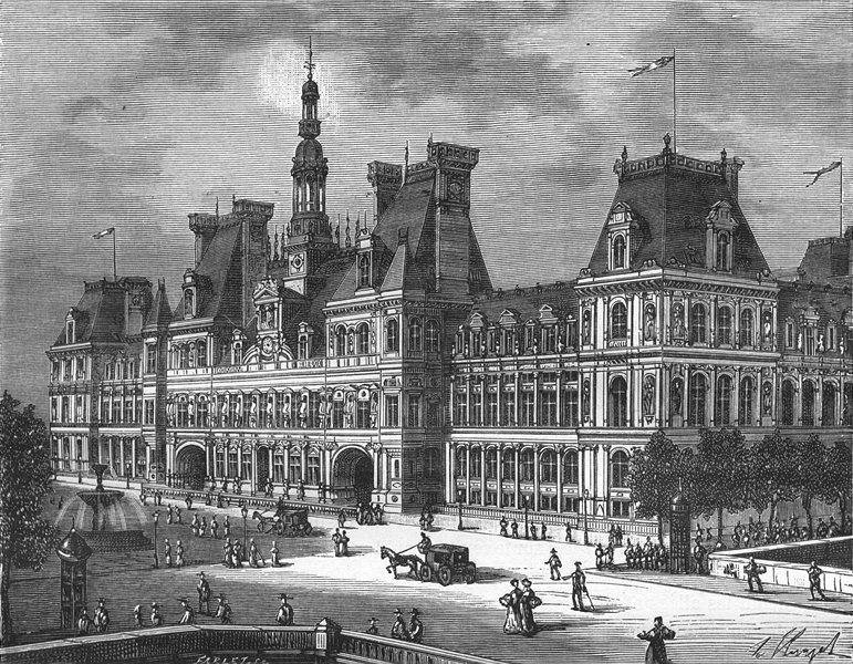Associate Product PARIS. Seine. Hotel de Ville 1883 old antique vintage print picture
