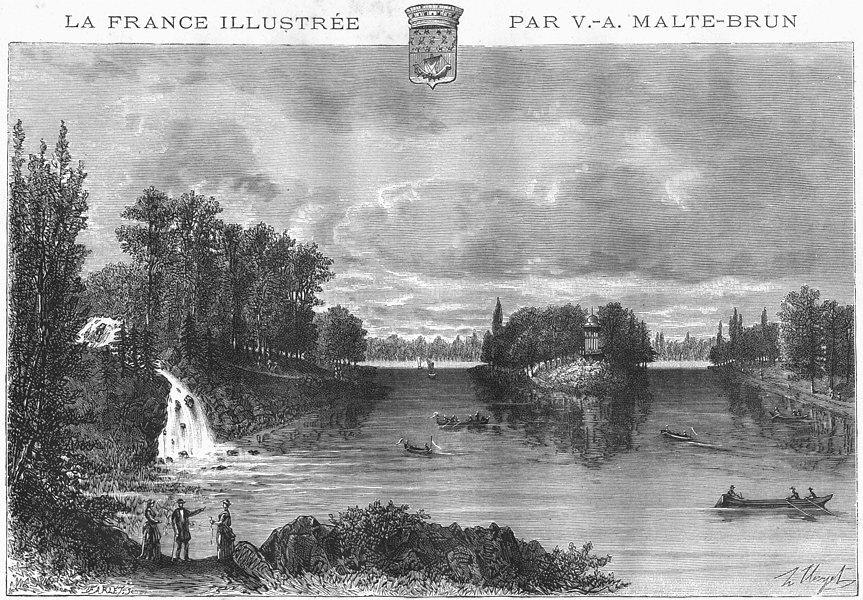 Associate Product PARIS. Lac Du Bois de Boulogne 1883 old antique vintage print picture