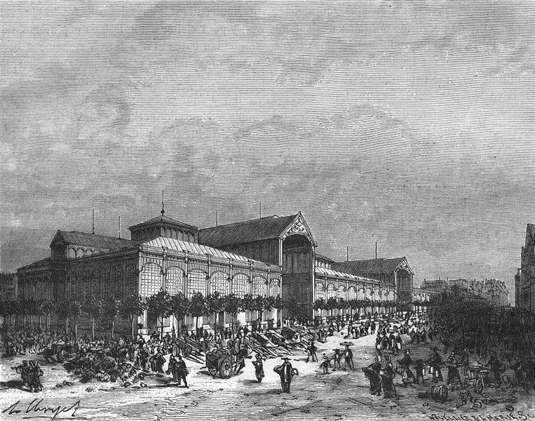 Associate Product PARIS. Seine. Halles centrales 1883 old antique vintage print picture