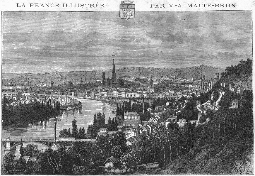 Associate Product SEINE-MARITIME. Rouen 1883 old antique vintage print picture