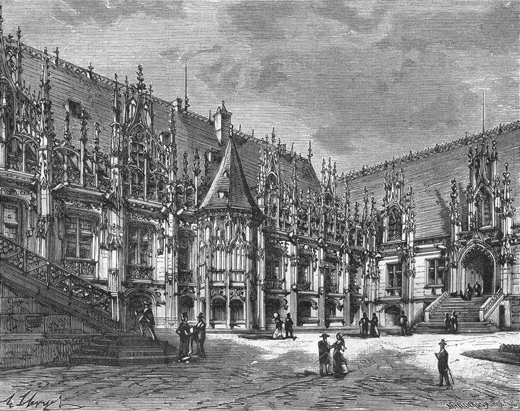 ROUEN. Inferieure. Palais de Justice 1883 old antique vintage print picture
