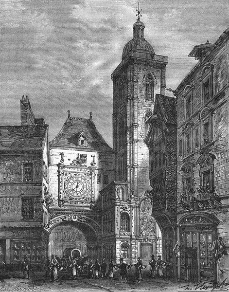 Associate Product GROSSE HORLOGE. Inferieure. tour de, a Rouen 1883 old antique print picture