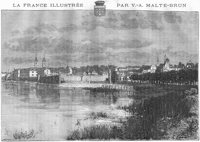 Associate Product SEINE-MARNE. Melun 1883 old antique vintage print picture