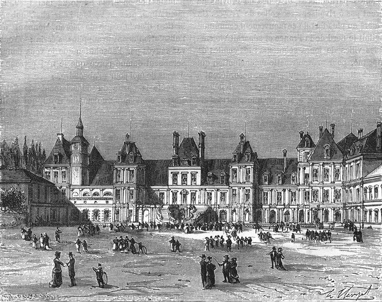 SEINE-MARNE. Chateau de Fontainebleau 1883 old antique vintage print picture