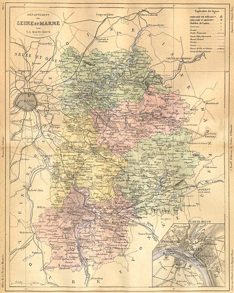 Associate Product SEINE-MARNE. Departement de; plan Melun 1883 old antique map chart
