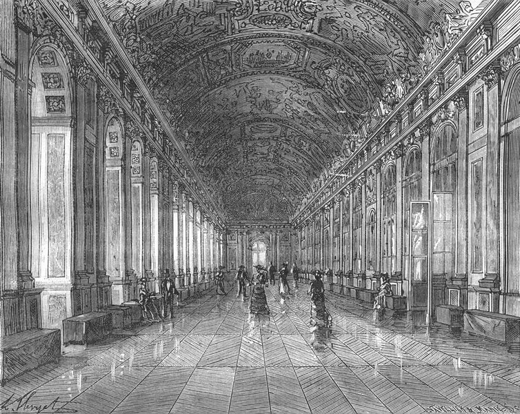 Associate Product VERSAILLES. Seine-Oise. Galerie Glaces chateau 1883 old antique print picture