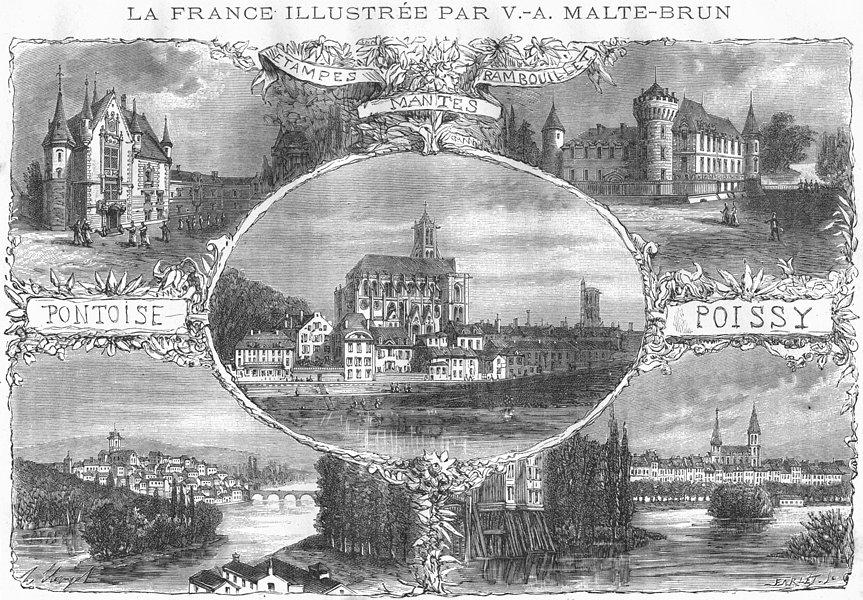 Associate Product RAMBOUILLET. Etampes; Mantes; Pontoise; Poissy 1883 old antique print picture