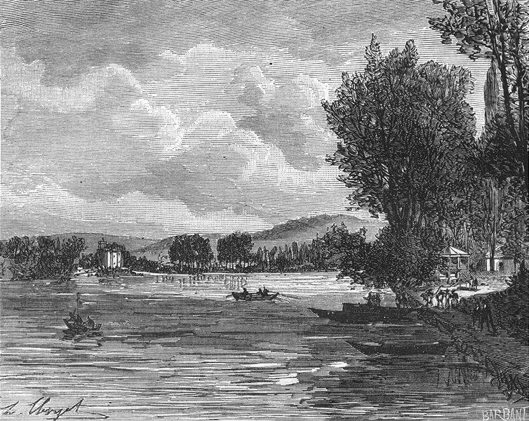 Associate Product VAL-D'OISE. Seine-Oise. Lac d'Enghien 1883 old antique vintage print picture