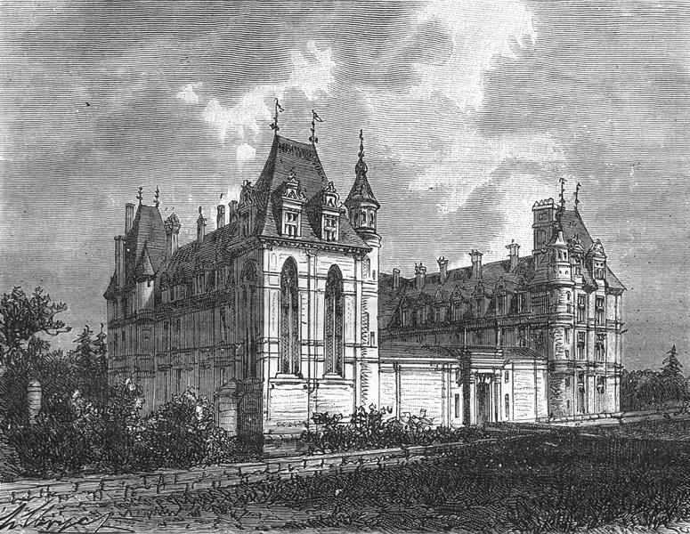 Associate Product VAL-D'OISE. Seine-Oise. Chateau d'Ecouen 1883 old antique print picture