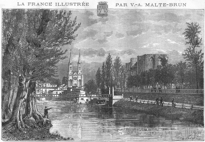 DEUX-SÈVRES. Niort 1883 old antique vintage print picture