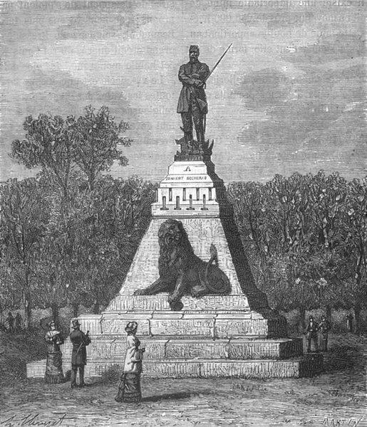 Associate Product DEUX SEVRES. Statue Denfert-Rochereau St-Maixent 1883 old antique print