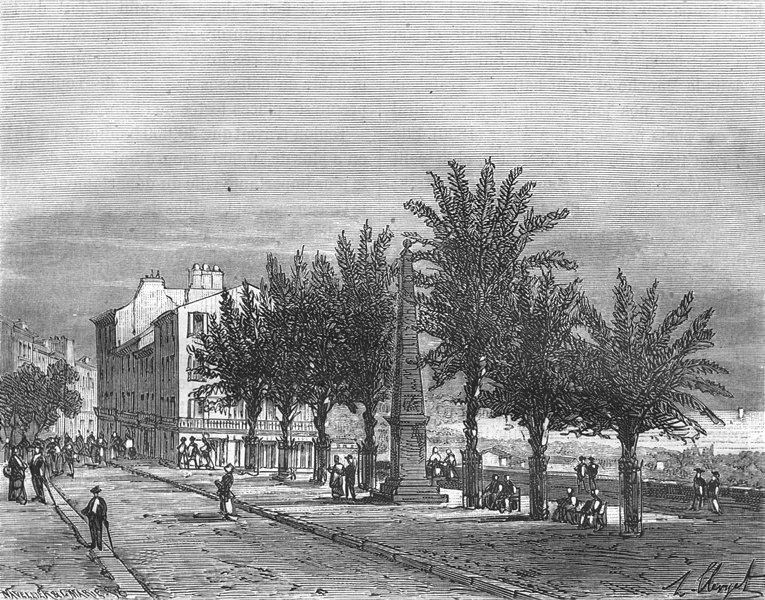 Associate Product VAR. Place Palmiers, a Hyères 1884 old antique vintage print picture