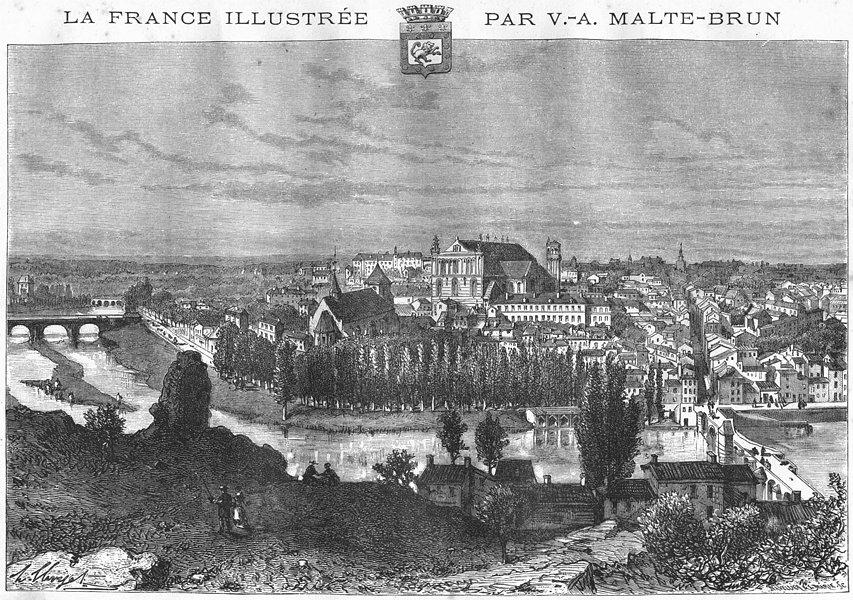 Associate Product VIENNE. Poitiers 1884 old antique vintage print picture