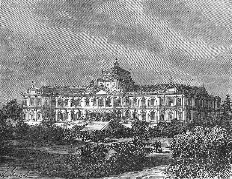 Associate Product VIETNAM. Asie. Palais du Gouvernement, a Saigon 1884 old antique print picture