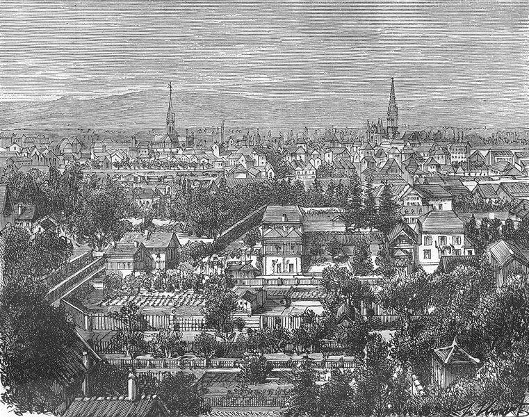 Associate Product HAUT-RHIN. Alsace-Lorraine. Mulhouse 1884 old antique vintage print picture