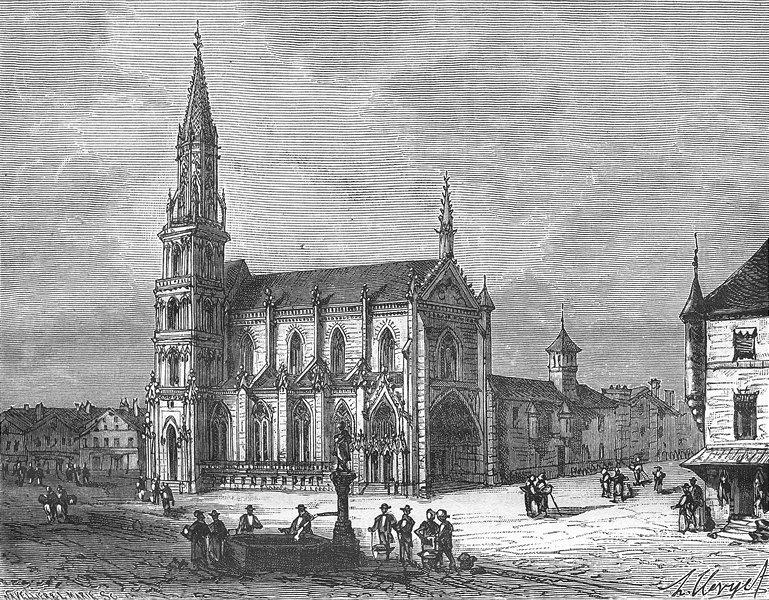 Associate Product HAUT-RHIN. Alsace-Lorraine. Eglise de Thann 1884 old antique print picture