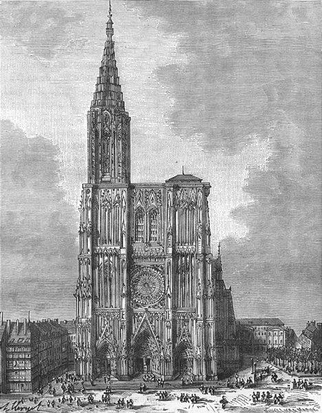 Associate Product STRASBOURG. Alsace-Lorraine. Cathedrale de 1884 old antique print picture