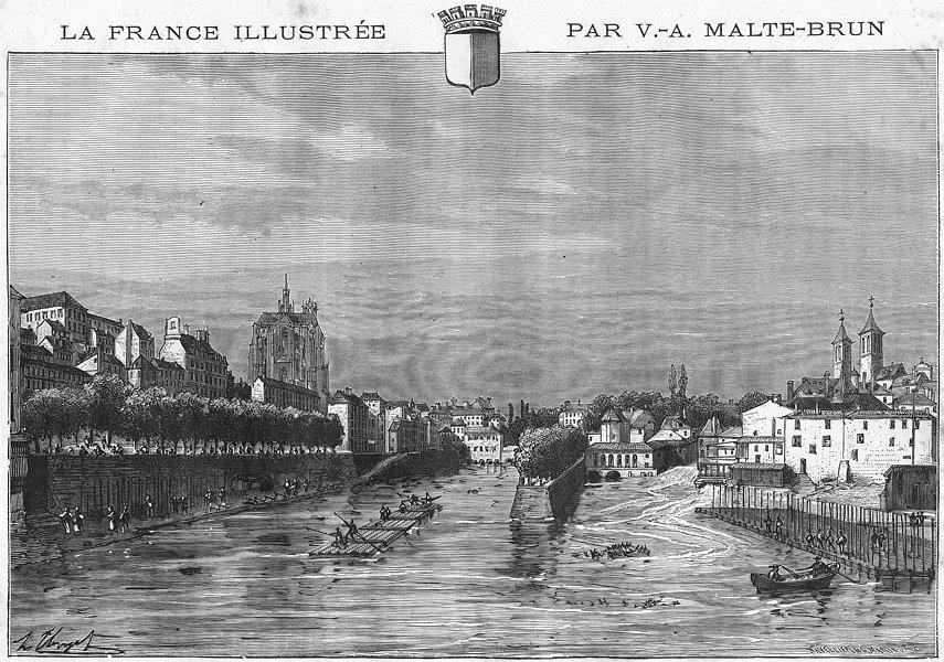 Associate Product MOSELLE. Metz-du port St-Georges 1884 old antique vintage print picture