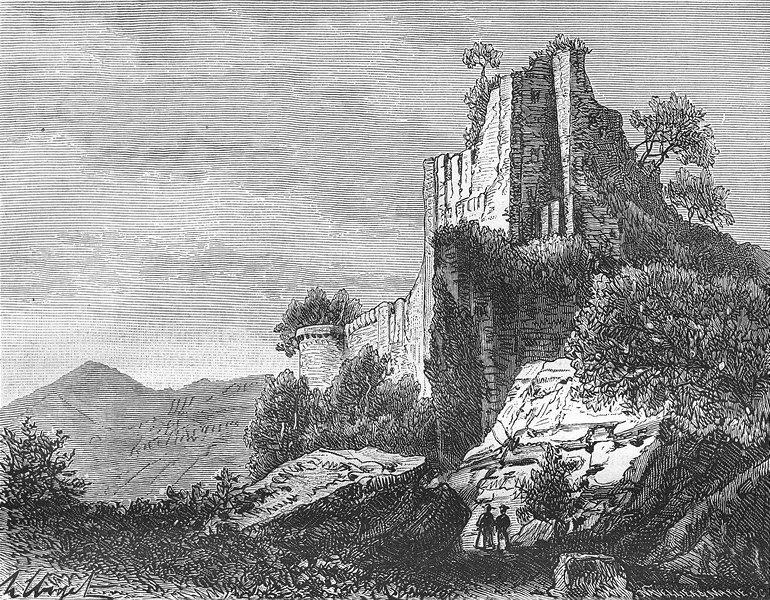 Associate Product ALSACE. Lorraine. Chateau de Hohenkoenigsbourg 1884 old antique print picture