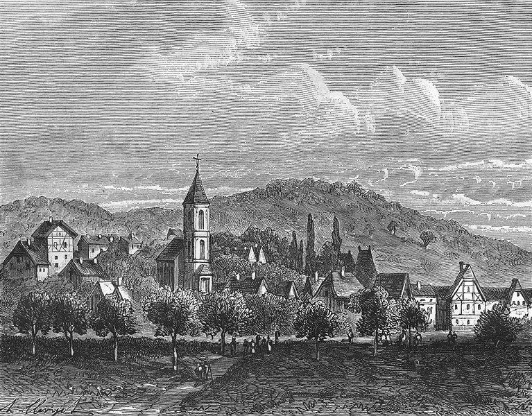 Associate Product MORSBRONN. Alsace-Lorraine. Charge Cuirassiers 1884 old antique print picture