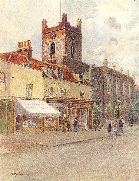 Associate Product CHERTSEY. Chertsey Church. Surrey 1914 old antique vintage print picture