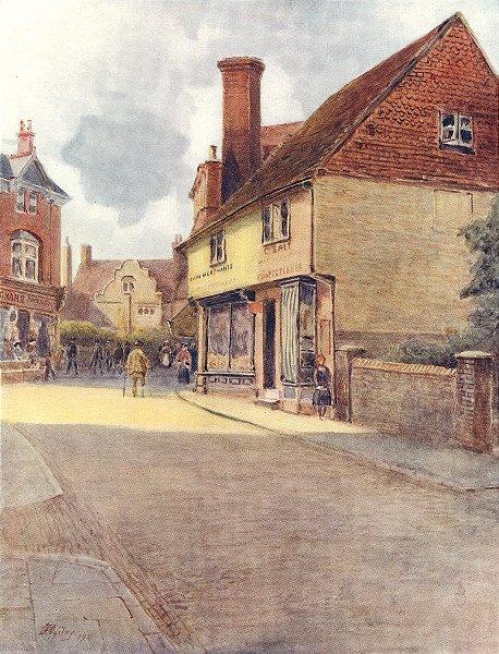 Associate Product GODALMING. Bridge Street Corner. Surrey 1914 old antique vintage print picture