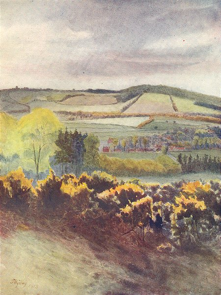 Associate Product TANDRIDGE. View towards Caterham, from Tilburstow Hill. Surrey 1914 old print