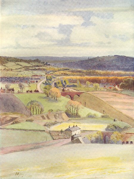 Associate Product SURREY. View over Merstham and Redhill, from Alderstead 1914 old antique print
