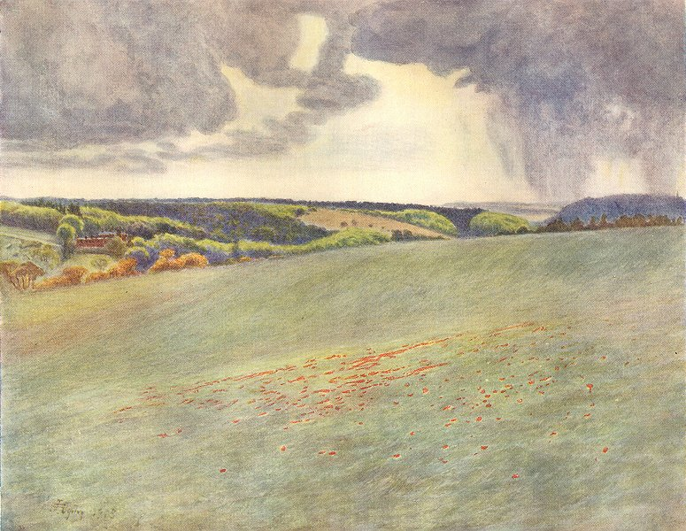 Associate Product NORTH DOWNS. Box Hill and Ranmore, from Tot Hill. Surrey 1914 old print