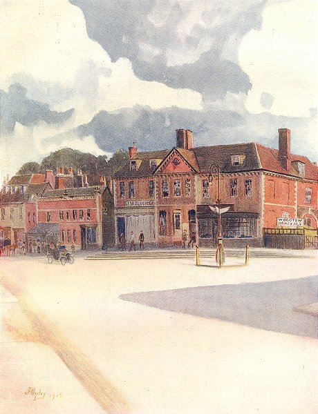 Associate Product EPSOM. New Inn and High Street. Surrey 1914 old antique vintage print picture