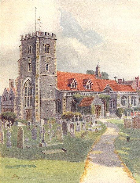 Associate Product BEDDINGTON. Beddington Church. Surrey 1914 old antique vintage print picture