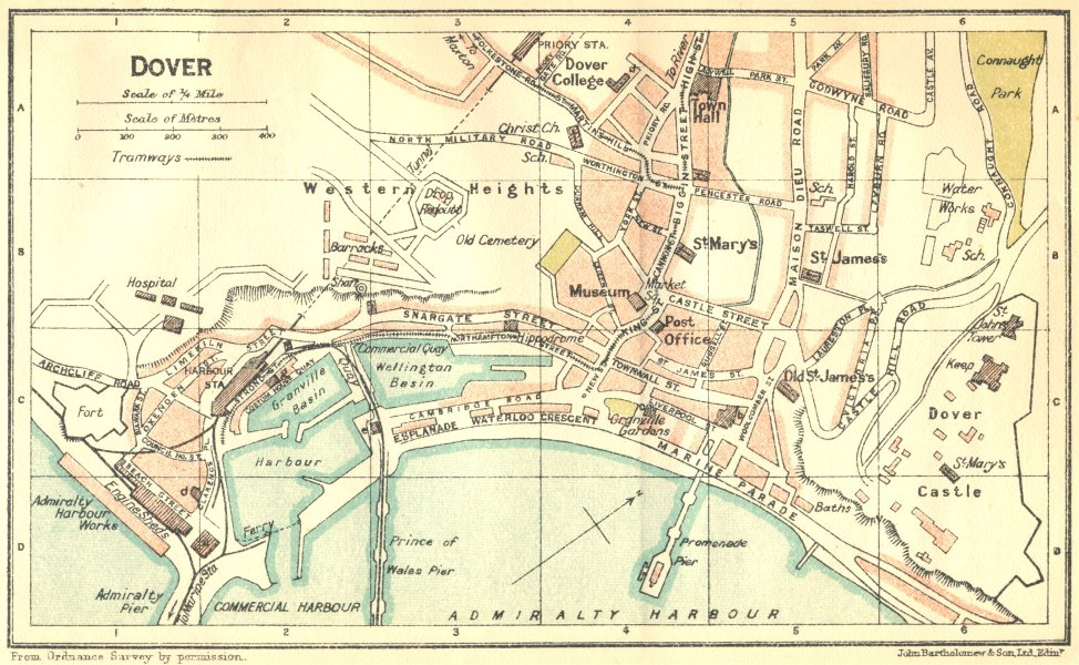 Associate Product KENT. Dover Town Plan 1924 old vintage map chart