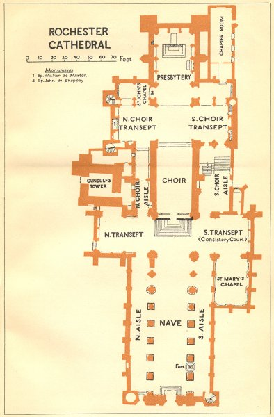 Associate Product KENT. Rochester cathedral 1924 old vintage map plan chart