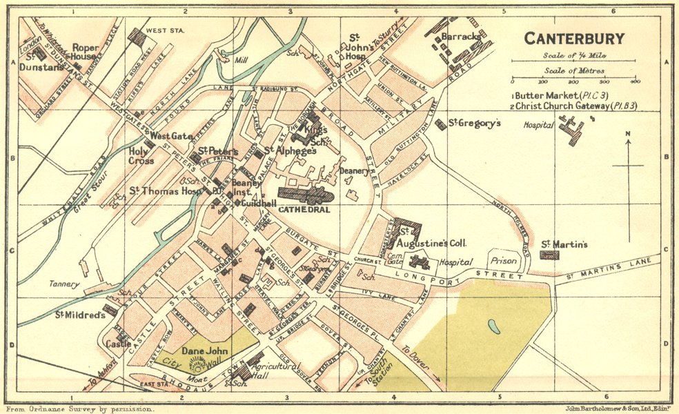 Associate Product KENT. Canterbury Town Plan 1924 old vintage map chart