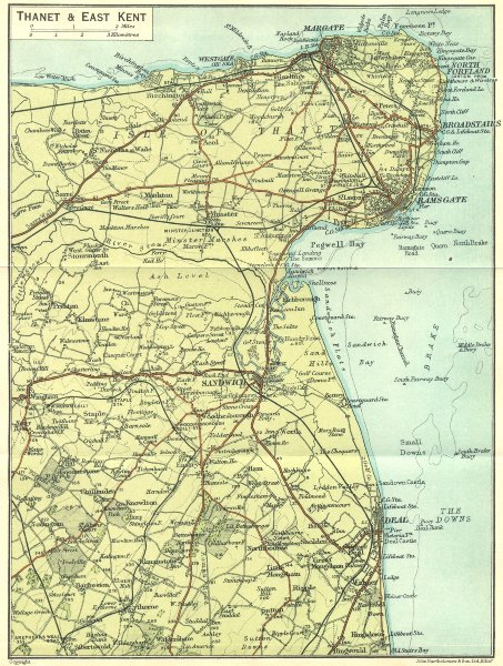 Associate Product KENT. Thanet & east 1924 old vintage map plan chart