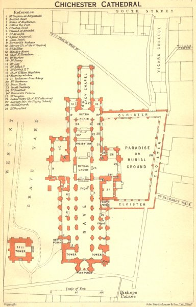 Associate Product SUSSEX. Chichester cathedral 1924 old vintage map plan chart